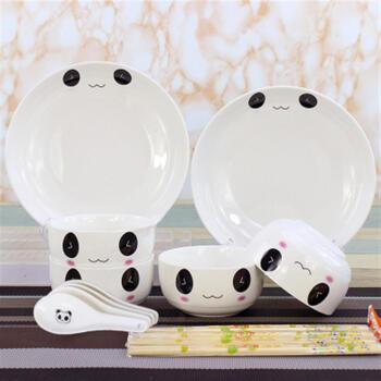 餐具套装瓷器可爱碗碟卡通学生水果吃饭汤勺4人用餐具中式 圆盘熊猫
