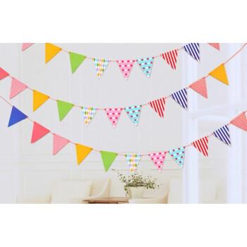 生日装扮小彩旗 派对聚会装饰道具儿童摄影三角旗挂旗幼儿园拉花 粉色