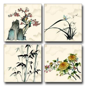 稀颜3cm加厚 客厅有框画 现代简约装饰画 壁画 挂画4联画 梅兰竹菊图片