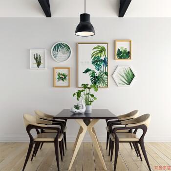 s7龟背竹绿植墙面装饰画现代简约客厅沙发背景墙壁画北欧风sn1046 白图片