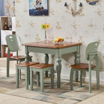 橡木可折叠餐桌椅组合多功能实木美式圆桌 一桌两苹果两凳【圆腿桌】