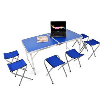 猎手户外大号铝合金加固型手提式折叠桌椅烧烤桌广告宣传桌 蓝色桌子图片