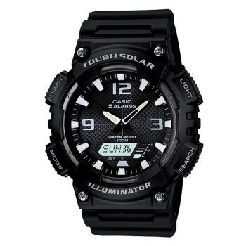 卡西欧(CASIO)手表太阳能运动时尚防水男表户外男士手表 黑树脂AQ-S810W-1A
