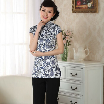 女装新款夏季女士短袖立领复古手绘中式改良 旗袍唐装上衣女白底兰花