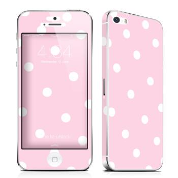 于iphone5s贴膜苹果5彩膜iphone5s手机保护粉底白点送金属边框 透明套