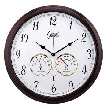 康巴丝 (COMPAS) 挂钟电波钟仿木钟表大壁钟客厅时钟温湿度计时钟2102S 褐色