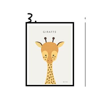 北欧风简约小清晰动物合集贴画海报 装饰画艺术微喷画