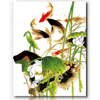 数字油画数码锦鲤鱼油画手绘中国风景客厅卧室40*50秋韵 秋气荷花 50*
