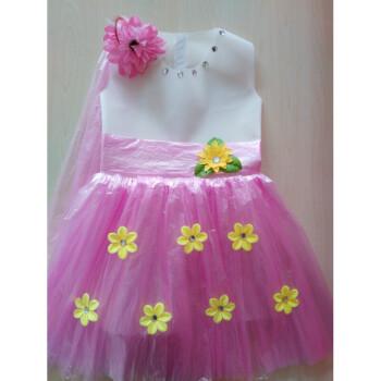 儿童环保演出服装无纺布塑料袋手工制作衣服时装走秀子装公主裙 白加