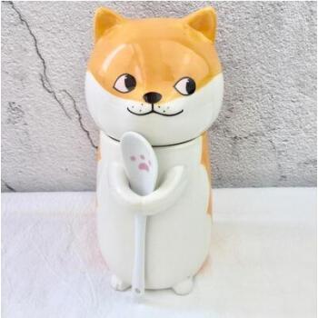柴犬动物猫咪可爱陶瓷水杯子情侣创意马克杯带盖咖啡杯带勺子 柴犬狗