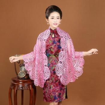 新款纯手工编织旗袍披肩真丝香云纱旗袍裙短袖短款妈妈装 黑色 均码