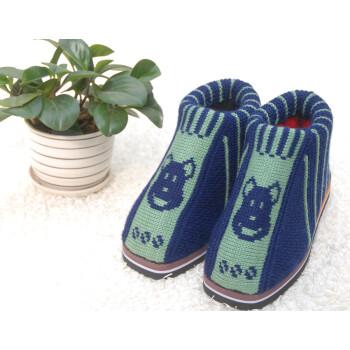 冬季保暖纯手工编织毛线鞋 男士女士 中老年选色高帮棉鞋棉靴 青涩