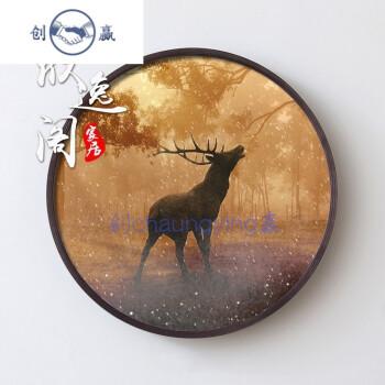 福鹿一家客厅装饰画沙发背景墙壁画简欧圆盘画创意动物组合挂画sn5850