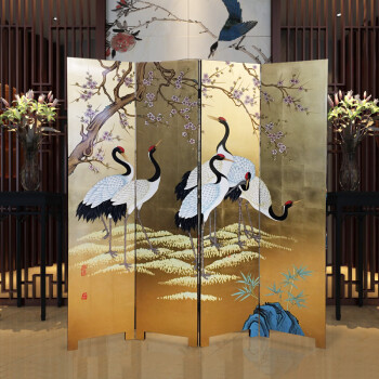 新中式手绘丹顶鹤屏风隔断时尚折屏移动创意典雅客厅酒店会所屏风 长