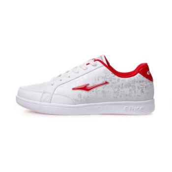 鸿星尔克板鞋 erke男运动鞋经典防滑男款板鞋休闲鞋 正白/大红(升级版) 42