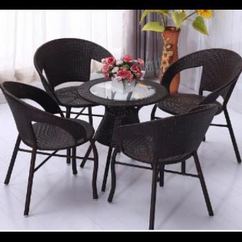 客厅卧室阳台桌椅茶几椅子休闲三件套小圆桌喝茶式家具套装组合 4椅1