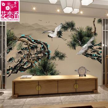 花恋香手绘古典电视背景墙壁画中式壁纸山水游历图装饰画客厅沙发卧室