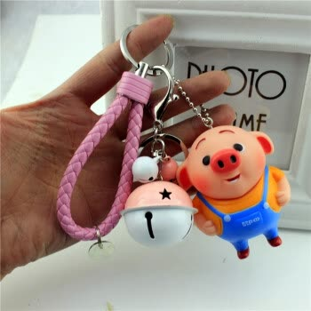 创意个性十二生肖猪钥匙扣男卡通铃铛可爱猪八戒钥匙链包包挂件女
