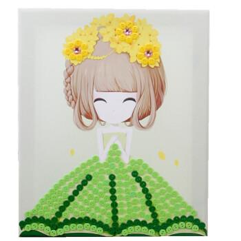 节纽扣粘贴画花手工制作diy材料包儿童创意玩具 乳白色 小美(材料包)