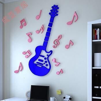 吉他音符3d水晶亚克力立体墙贴卡通儿童房床头幼儿园音乐教室装饰