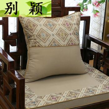 别颖 中式棉麻绣花抱枕靠垫罗汉床沙发垫坐垫实圈椅坐垫定做 几何浅灰图片