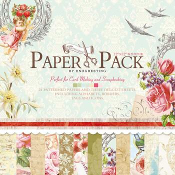 12寸diy相册scrapbook剪贴材料背景纸本手工用纸24张印刷纸图案纸 ps