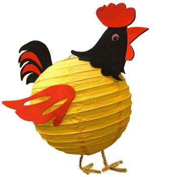 卡通纸灯笼节日儿童手工灯笼可爱小动物贴纸 公鸡(黄色)