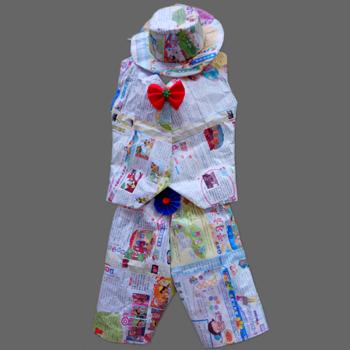 新子装手工材料报纸 环保服装儿童 时装秀 手工自制儿童演出服 乳白色