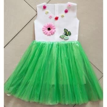 儿童环保服diy手工制作时装秀演出服幼儿园服装女亲子走秀裙 绿色 绿