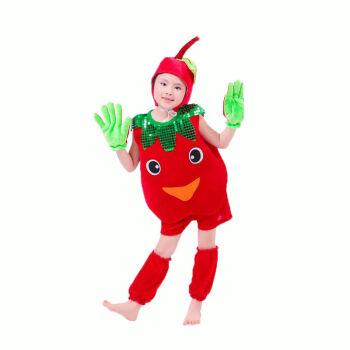 小蘑菇苹果雪梨蔬菜舞蹈 幼儿水果演出服装儿童卡通表演服装 草莓 120