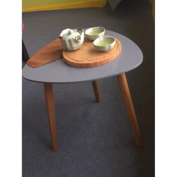 小圆桌北欧茶几简约家具ins风小圆桌迷你床头桌 灰色小三角桌楠竹腿