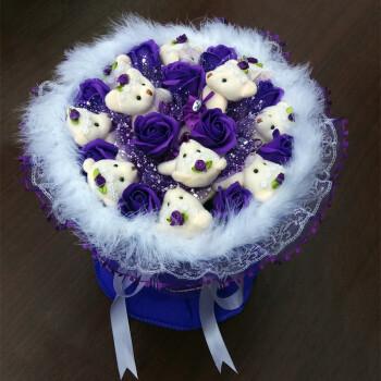 卡通香皂玫瑰花束小熊玩偶圆形捧花,生日节日毕业母节