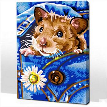 diy 手绘客厅人物动物卡通动漫装饰画幻30*40父爱如水 浅灰色 小仓鼠