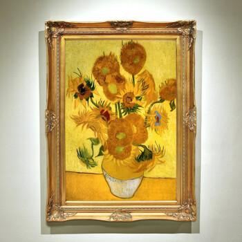 名画临摹手绘油画梵高向日葵欧式壁炉玄关有框画酒店办公室装饰画