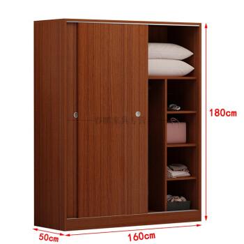 简约现代推拉移门衣柜2门实木质柜子卧室整体组装板式经济型 f款柚木