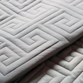 丝域 夹棉加厚床笠单件高档席梦思床垫套纯棉床罩1.8米乳胶床垫保护套1.5m防滑床套防尘罩子定制定做 长城格(银灰色)