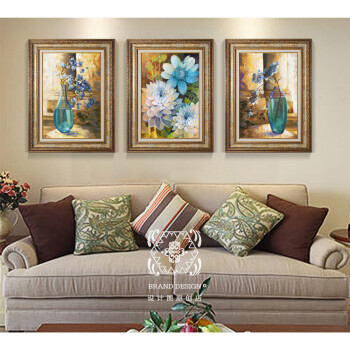 欧式静物油画现代客厅沙发背景装饰画花卧室房间大厅餐厅三连挂画sn10图片