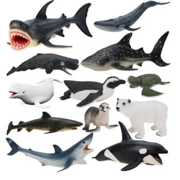 儿童海洋玩具模型 大鲨鱼虎鲸灰鲸抹香鲸大白鲨 男孩仿真动物套装 【4