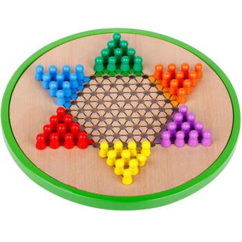 得力(deli) 6731 安全无毒儿童益智早教玩具 原木五合一跳棋飞行棋五子棋