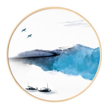 现代新中式禅意风景圆形装饰画客厅沙发背景墙画挂画玄关画水墨山水画