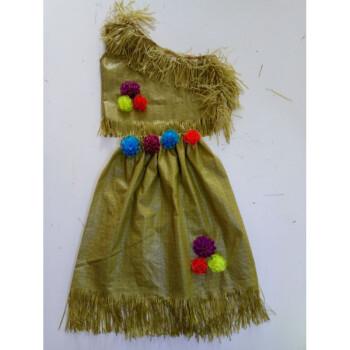 环保衣服装儿童时装秀演出服幼儿园服装女公主裙编织子装走秀裙 军