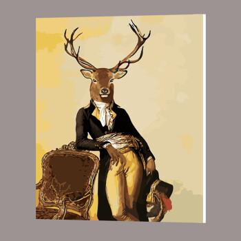 diy数字油画填色画 客厅卧室风景动物人物向日葵鹿手工手绘装饰画 鹿
