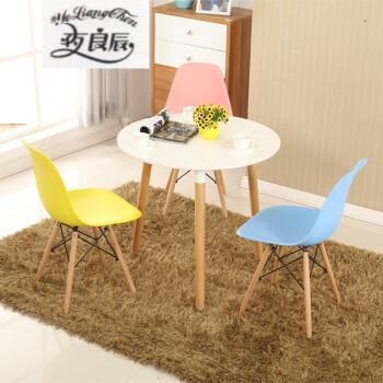 厅现代简约小圆桌户型餐桌接待洽谈桌椅组合家具 四腿60cm圆桌木纹