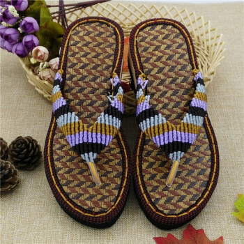 鞋底坡跟凉鞋拖鞋中国结线编织手工鞋居家人字拖材料包lbbz10 人字拖