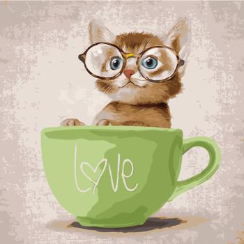 diy数字油画 儿童卡通动漫萌宠动物油彩填色装饰画小动物 猪兔马 眼镜