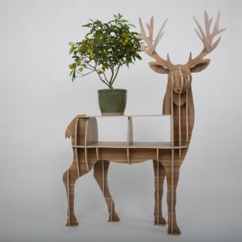 北欧麋鹿置物架 麋鹿边几创意书架玄关桌动物造型服装店橱窗摆件 黄