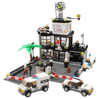 拼装男孩警察玩具消防局系列警车城市玩具消防车警拼装衣服警察局怎样给玩具布偶这一件积木图片