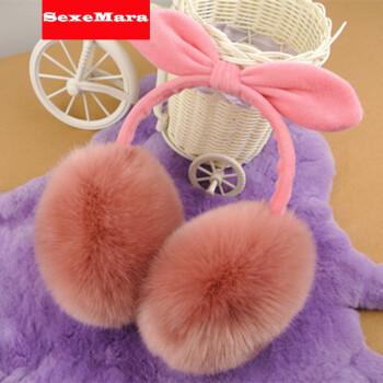 耳套保暖耳罩女冬季可爱兔耳朵蝴蝶结仿兔毛超大耳暖耳包耳捂韩版 仿