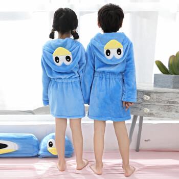 法兰绒小孩子浴袍加厚珊瑚绒家居袍可爱卡通男孩女童抱枕睡袍 抱枕