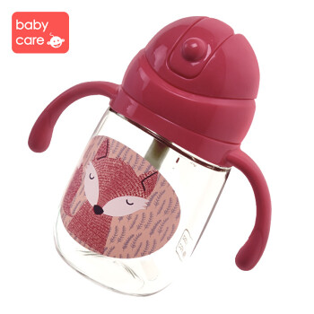 babycare宝宝学饮杯 儿童吸管杯婴儿1-3岁吸管杯子夏天水杯喝水杯饮水杯 柠红-260ML无挂绳